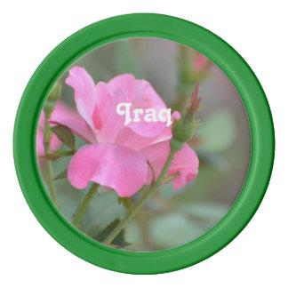 イラクのパステル調ピンクのバラ ポーカーチップ