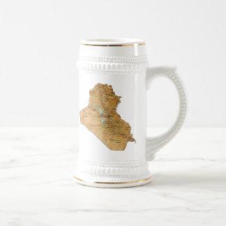 イラクの旗の~の地図のマグ ビールジョッキ