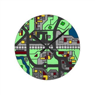 イラストラティブ町の地図 ラウンド壁時計