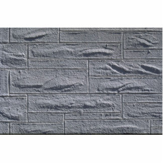 イラストラティブ織り目加工の白いレンガ壁 写真彫刻(台付き)