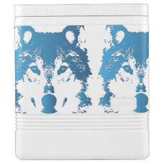 イラストレーションの淡青色のオオカミ IGLOOクーラーボックス