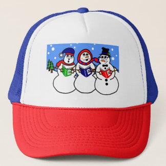 イラストレーションの雪だるまの歌うグループの帽子 キャップ