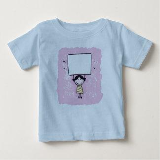 イラストレーションを含む元の手描きのTシャツの青 ベビーTシャツ