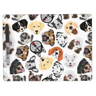 イラストレーションパターン犬 キーホルダーフック付きホワイトボード
