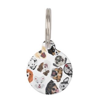 イラストレーションパターン犬 ペット ネームタグ