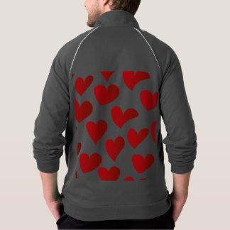 イラストレーションパターン色彩の鮮やかな赤いハート愛 ジャケット