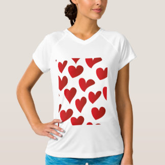 イラストレーションパターン色彩の鮮やかな赤いハート愛 Tシャツ