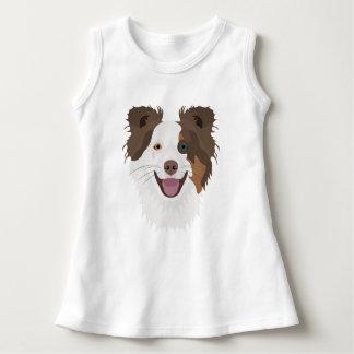 イラストレーション幸せな犬の顔のボーダーコリー ドレス