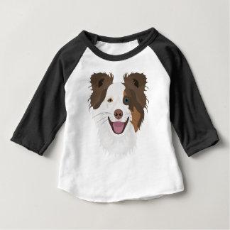 イラストレーション幸せな犬の顔のボーダーコリー ベビーTシャツ