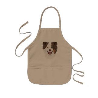 イラストレーション幸せな犬の顔のボーダーコリー 子供用エプロン