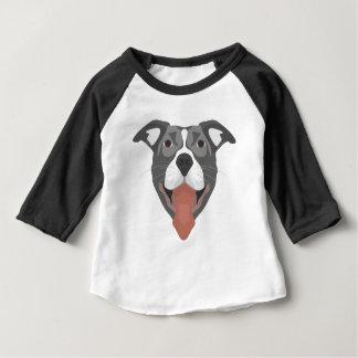 イラストレーション犬の微笑のピットブル ベビーTシャツ