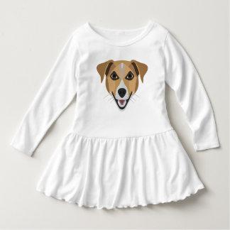 イラストレーション犬の微笑テリア ドレス