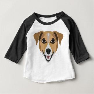 イラストレーション犬の微笑テリア ベビーTシャツ