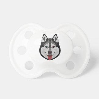 イラストレーション犬の顔のシベリアンハスキー おしゃぶり