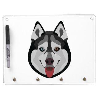 イラストレーション犬の顔のシベリアンハスキー キーホルダーフック付きホワイトボード