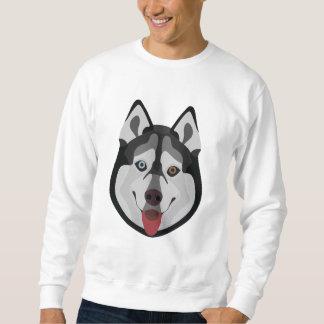 イラストレーション犬の顔のシベリアンハスキー スウェットシャツ