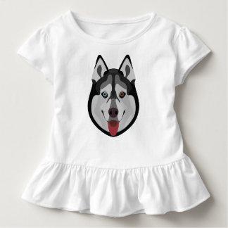 イラストレーション犬の顔のシベリアンハスキー トドラーTシャツ
