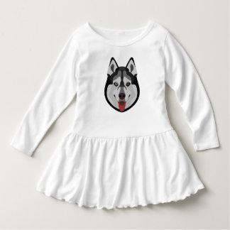 イラストレーション犬の顔のシベリアンハスキー ドレス