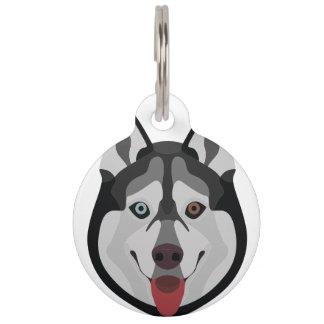 イラストレーション犬の顔のシベリアンハスキー ペット ネームタグ