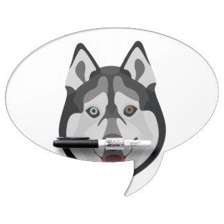 イラストレーション犬の顔のシベリアンハスキー ホワイトボード