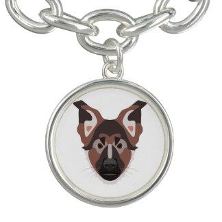 イラストレーション犬の顔のジャーマン・シェパード チャームブレスレット