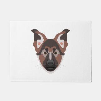 イラストレーション犬の顔のジャーマン・シェパード ドアマット