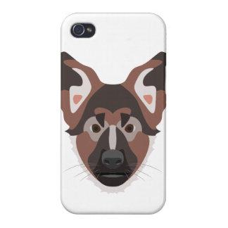 イラストレーション犬の顔のジャーマン・シェパード iPhone 4/4S ケース