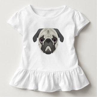 イラストレーション犬の顔のパグ トドラーTシャツ