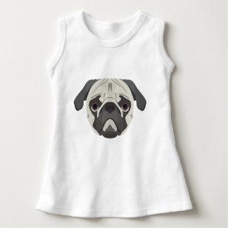 イラストレーション犬の顔のパグ ドレス