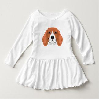 イラストレーション犬の顔のビーグル犬 ドレス