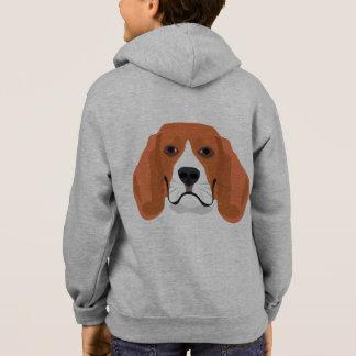 イラストレーション犬の顔のビーグル犬 パーカ