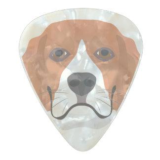 イラストレーション犬の顔のビーグル犬 パールセルロイド ギターピック