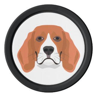 イラストレーション犬の顔のビーグル犬 ポーカーチップ