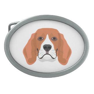 イラストレーション犬の顔のビーグル犬 卵形バックル
