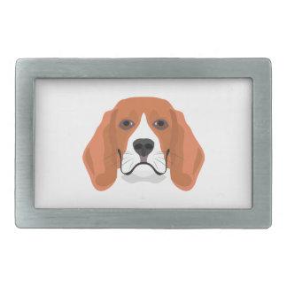 イラストレーション犬の顔のビーグル犬 長方形ベルトバックル