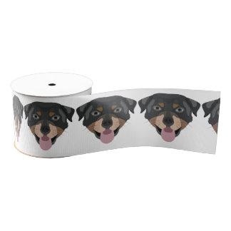 イラストレーション犬の顔のロットワイラー グログランリボン