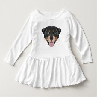 イラストレーション犬の顔のロットワイラー ドレス