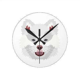 イラストレーション犬の顔フィンランドのLapphund ラウンド壁時計