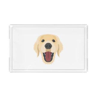 イラストレーション犬の顔金Retriver アクリルトレー