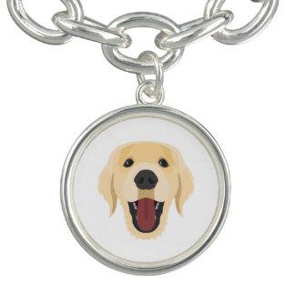 イラストレーション犬の顔金Retriver チャームブレスレット