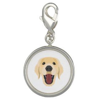 イラストレーション犬の顔金Retriver チャーム