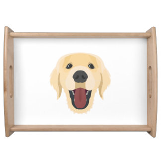 イラストレーション犬の顔金Retriver トレー