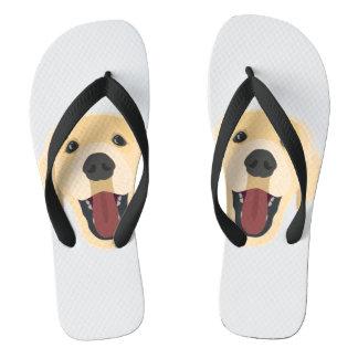 イラストレーション犬の顔金Retriver ビーチサンダル