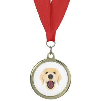イラストレーション犬の顔金Retriver メダル