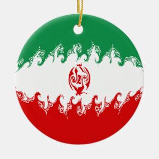 イランのすごい旗 陶器製丸型オーナメント