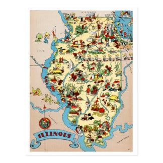 イリノイのおもしろいなヴィンテージの地図 ポストカード