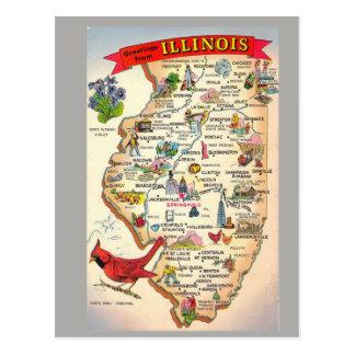 イリノイの州の地図 ポストカード