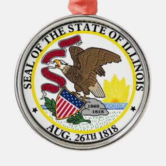 イリノイの州の旗米国統一されたなアメリカの記号のシール メタルオーナメント