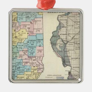 イリノイの政治地図 メタルオーナメント