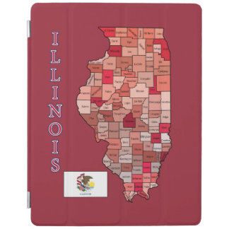 イリノイの旗そして地図 iPadスマートカバー
